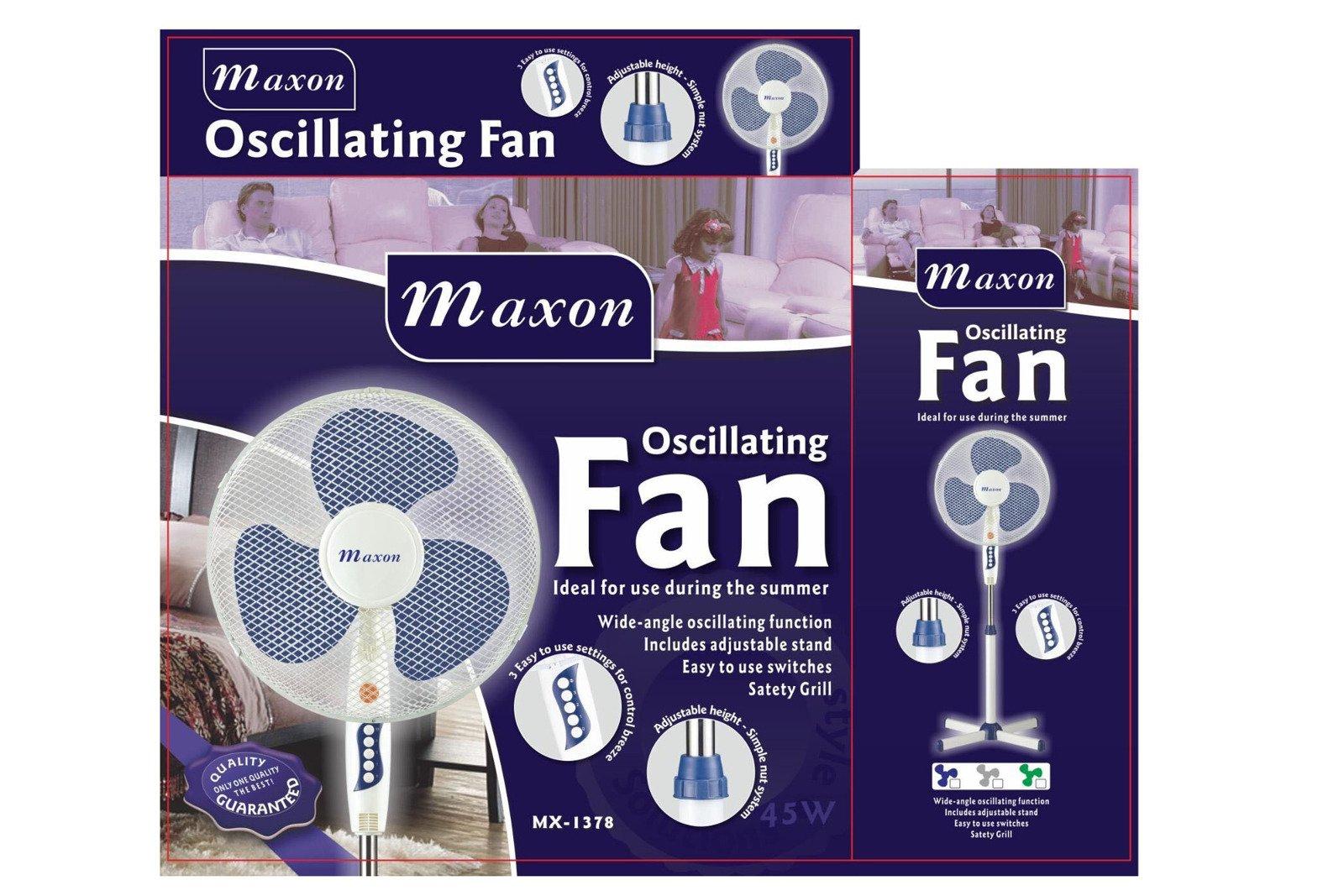 Oscillating floor standing fan Maxon 45W MX-1377 Blue/White