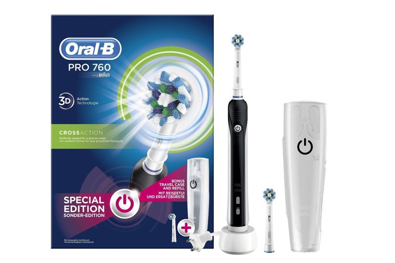 Oral-B Pro 760 750 Special Edition Electric Toothbrush + Travel Case + 2x Heads